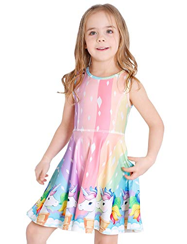 LaBeca Girls Party Casual Printed Twirly Sleeveless Dress Icecream Unicorn L -