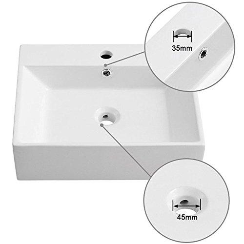 White Rectangle Ceramic Bathroom Kitchen Vessel Sink Porcelain Vanity Above Counter Basin Bowl (Cl-1094)