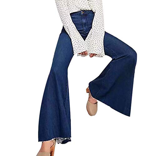 - Orangeskycn Women Jeans Boho Comfy Stretchy Bell Bottom Flare Pants Dark Blue