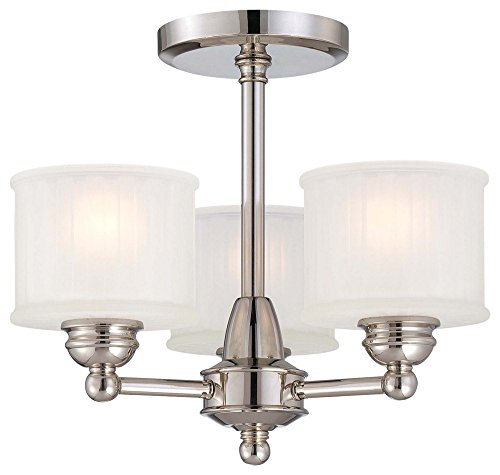 (Minka Lavery 1738-613 1730 Series - Three Light Semi-Flush Mount, Polished Nickel Finish with Etched-Box Pleat Glass)