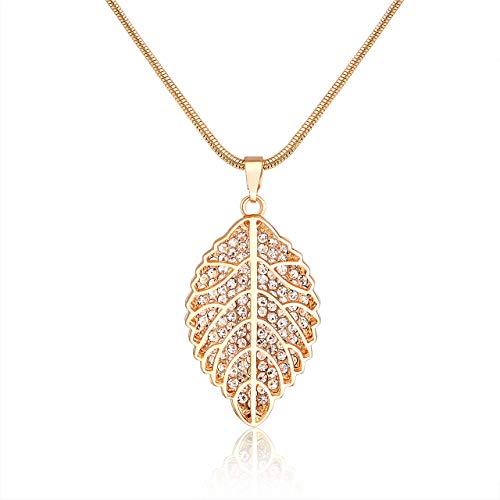 Filigree Leaf Pendant Necklace Pave Crystal 3D Leaf Necklace Snake Chain Long Necklaces for Women (Gold)