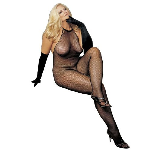 (Plus Size Fishnet and Lace Halter-Top Body Stocking by Shirley of Hollywood)