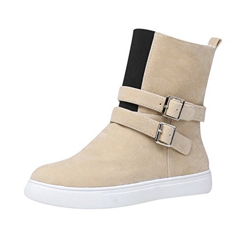 Carolbar Womens Multi Buckle Warm Comfort Fashion Snow Boots Light-apricot