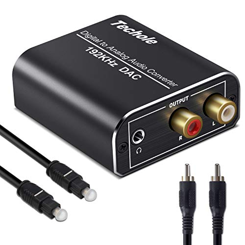Digital to Analog Converter-Techole Aluminum 192KHz Digital Coaxial SPDIF Toslink to Analog Stereo L/R DAC Audio Converter, Included Optical&Coaxial Cable for PS4 Xbox 360 HDTV AV Amps Cinema Systems