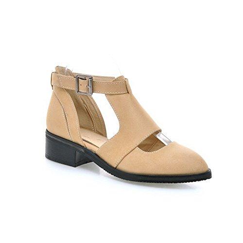 VogueZone009 Damen Schnalle Spitz Zehe Niedriger Absatz Mattglasbirne Pumps Schuhe Aprikosen Farbe