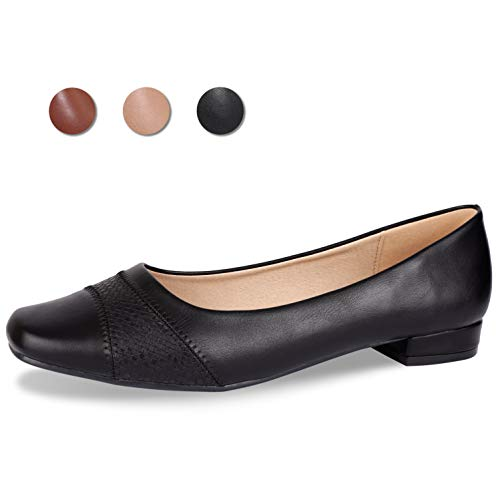 - CINAK Comfort Flats for Women-Low Chunky Heel Pumps Formal Square Toe Dress Slip On Casual Spliced Shoes