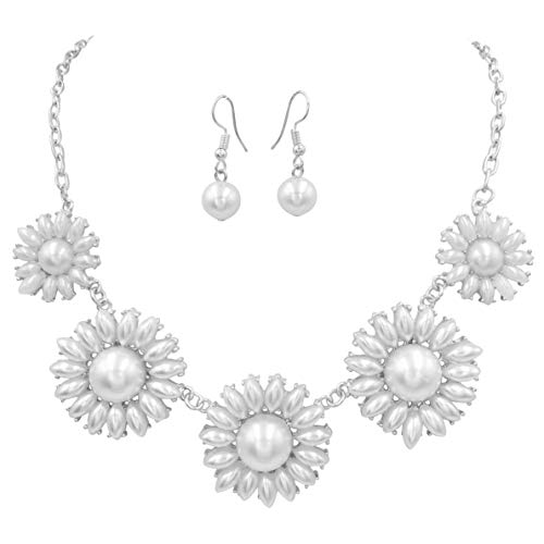 Gypsy Jewels Colorful 5 Daisy Flower Bubble Gold Tone Boutique Statement Necklace Earrings Set (White Imitation Pearl Silver Tone)