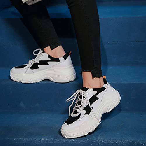 Per Sneaker Autunnale Le Sera Scuola Passeggio Casual Della Vacanze Scarpe Da Spesso Moda Allacciatura Con Fondo Traspiranti Donna Ragazze Black Bassa q867PA