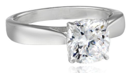 Charles Winston, S Silver, Cubic Zirconia Solitaire Ring with Charles Winston Scintillant Cut(TM),  7.5mm Cushion Shape 2.00 ct.  tw., Size (Designer Solitaire Ring)