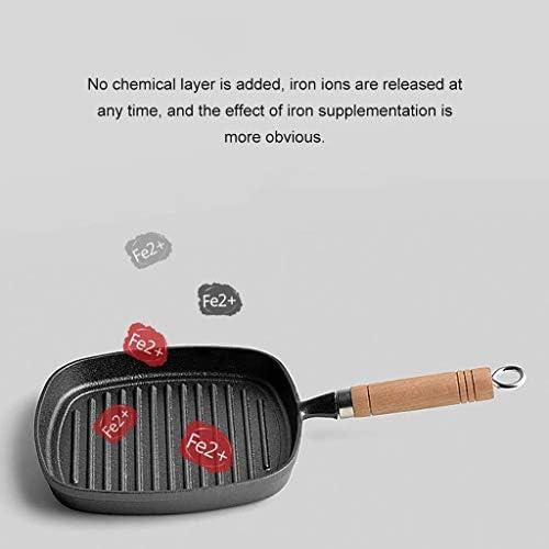 SMEJS Ménage Frying Pan avec poignée en bois, en fonte Poêle à Rayé Steak Pot, fonte épaissie fer antiadhésive