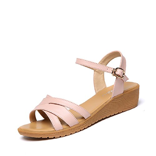 Verano Mujer zapatos de moda sandalias de tacón,36 gris Pink