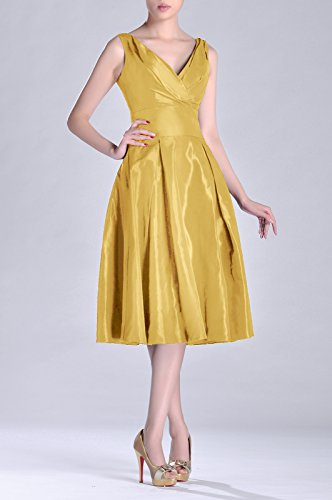 Pleated Taffeta Formal A line bridesmaids Bridesmaid Dress Goldfarben Modest neck Length V Tea rYgarqx