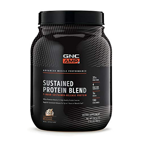 GNC AMP Sustained Protein Blend - Chocolate Milkshake, 2.04 lbs, High-Quality Protein Powder for Muscle Fuel