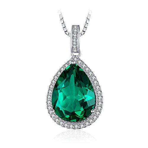 JewelryPalace Luxury Pear Cut 7.4ct Simulated Green Nano Russian Emerald Solid 925 Sterling Silver Pendant Necklace 18 inches (Russian Emerald)