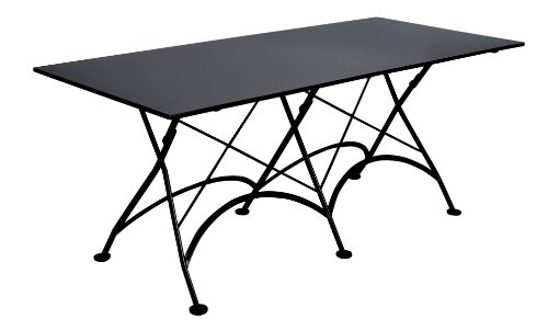 Mobel Designhaus French Café Bistro Folding Table, Jet Black Frame, 32″ x 72″ x 29″ Height, Rectangular Steel Metal Top Review