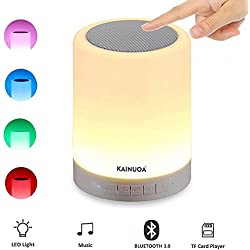Kainuoa LED Touch Bedside Lamp, with Smart Touch Control Outdoor Table Lamp, Bluetooth Speaker Lamp and Color Control Night Light, Best Gift for Men Women Teens Kids Children Sleeping Aid