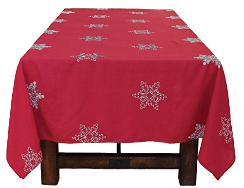 60' Square (Xia Home Fashions Snowy Noel Embroidered Snowflake Christmas Square Tablecloth, 60 by 60