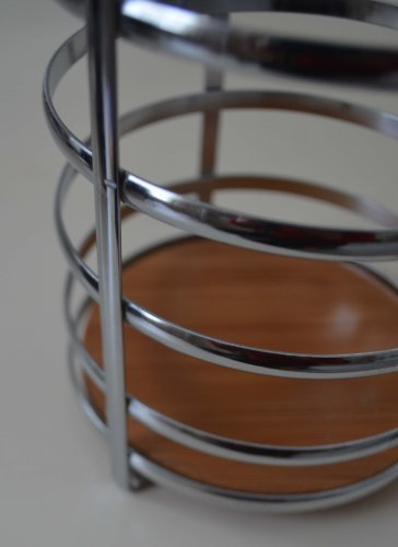 "Chrome Utensil Holder Caddy W/bamboo Base. 5"" Dia X 7.5"" H by GinsonWare (Image #3)"