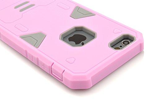 """IPhone 6S Plus Coque,IPhone 6 Plus Coque,Lantier Guerrier Series Hybrid Dual Layer Soft Coque Outer Rubber Cover Defender Avec dur PC interne Armure pour Apple IPhone 6 Plus/6S plus 5.5 """"Pink + violet"""