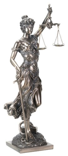 YTC 13.5 Inch Cold Cast Resin Justice Holding Scale and Sword Statue