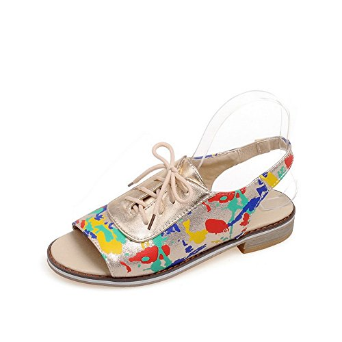 1TO9 Womens Graffiti Pattern Lace-Up Polyurethane Sandals Gold