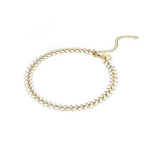 Fettero Ankle Bracelet Handmade Beach Boho Foot Jewelry Gold Heart Chain White Enamel Arrow Chevron Fishbone Chain Anklet for Women