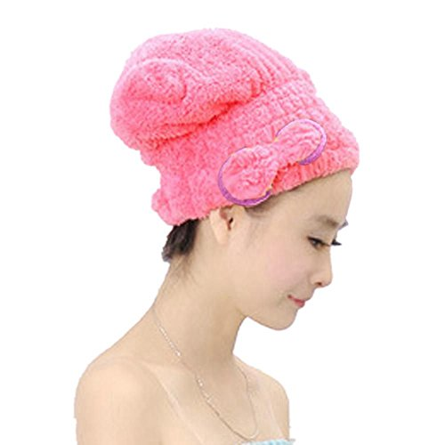 Price comparison product image AnchorX New Quickly Dry Hair Hat Wrapped Towel Bath Shower Caps Pink