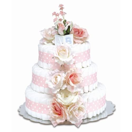 Image of Bloomers Baby Diaper Cake Classic Pink Roses 3-Tier