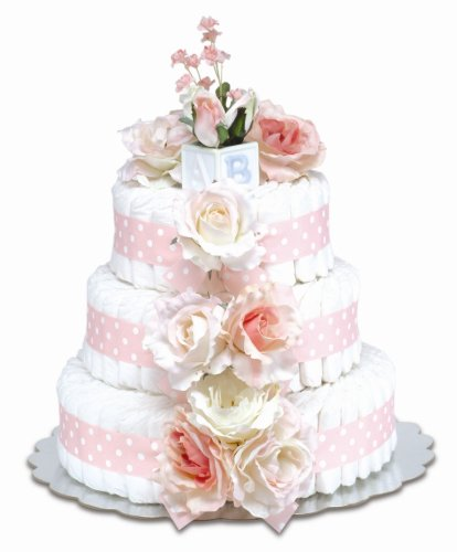 Bloomers Baby Diaper Cake Classic Pink Roses 3-Tier by Bloomers