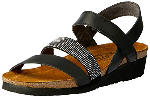 NAOT Footwear's Women Krista Backstrap Sandal Black Matte Lthr/Black w/Silver Rivets 37 M EU
