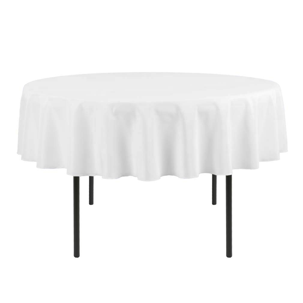 Global Bedding Paradise - Premium Cotton 80 Inch Round Tablecloth for Round Table Cover in Solid White - Great for Buffet Table, Parties, Holiday Dinner & More - Machine Washable by Global Bedding Paradise