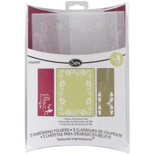 Sizzix Textured Impressions Embossing Folders 3/PK - Peace Poinsettia Set by Rachael Bright by Sizzix