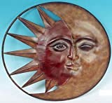 "Large 20"" Metal Sun Moon Plaque Wall Decor"