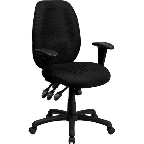 Flash Furniture High Back Black Fabric Multifunction Ergonom