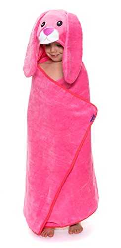 thecroco Bunny Hooded Towel Premium Quality: Ultra Soft, Super Absorbent, X-Large 49'' x 28'',for Kids & Baby use for Bath, Beach, Pool (Pink) by thecroco