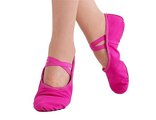 Women's Ballet Practice Ballroom Dance Shoes Canvas Belly Slippers Split-sole(6.5, Hot (Hot Belly Dancing Apparel)