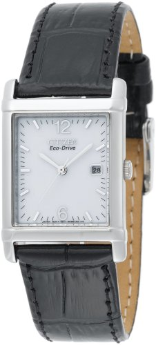 Citizen Men's BW0200-09A Eco-Drive Black Leather Strap Stainless Steel White Dial Watch
