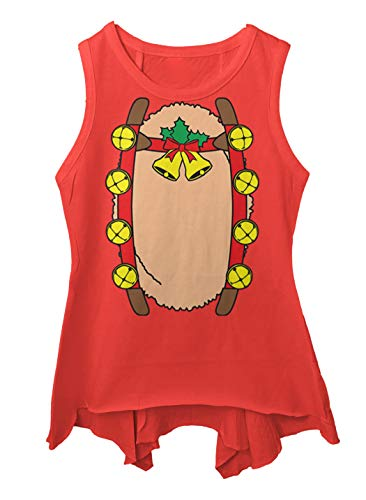 Reindeer Costume - Rudolph Red Nosed Toddler/Youth Sleeveless Backswing (Red, 6T -