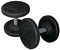 York Barbell 26107 Rubber Pro Style Dumbbell44; Set of 2 - 40 lbs