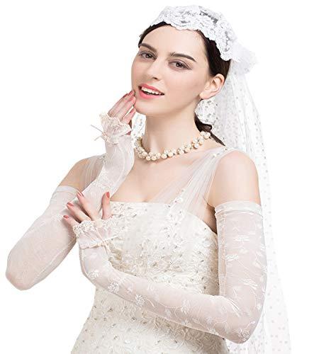 (Maitose™ UV Protective Wedding dress Long gloves White One Size)