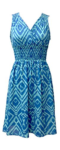 Plus Size Summer Dresses (Vibrant V-neck Knee Length Dress - Assorted Styles Plus & Regular Sizes blue ikat l)