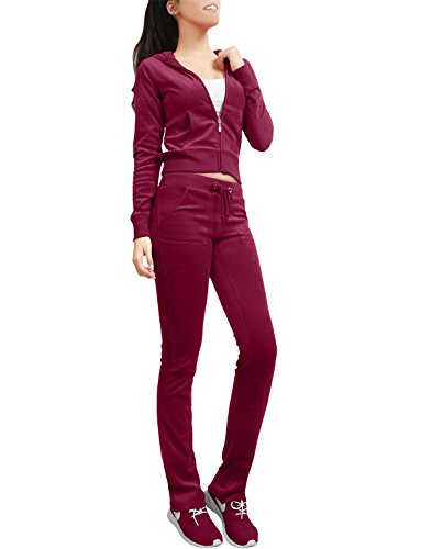 (NE PEOPLE Womens Casual Basic Velour Zip Up Hoodie Sweatsuit Tracksuit Set S-3XL Wine)