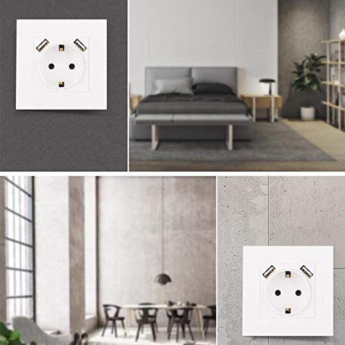 Electric Wall Sockets with New Design 2019, Electrical Wall Socket Double USB Port 220-250v 16a Power Outlet - Multi Wall Socket, Electricity Socket, Electrical Outlet, Wall Socket UK