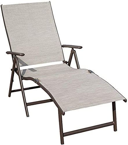 Kozyard Cozy Aluminum Beach Yard Pool Folding Reclining Adjustable Chaise Lounge Chair 1 Pack, Beige