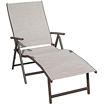 Awesome Kozyard Cozy Aluminum Beach Yard Pool Folding Reclining Adjustable Chaise Lounge Chair 1 Pack Beige Home Remodeling Inspirations Basidirectenergyitoicom