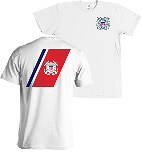 Coast Guard Stripe (USCG US Coast Guard Racing Stripe Front & Back White T-Shirt USA (White, Large))
