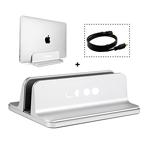 Vertical Laptop Stand Adjustable Size - Desktop Holder, Non-Slip Rubber Footing on base, Aluminum, Fits All Macbook, Chromebook, Surface, Samsung and Gaming Laptops, Silver, FREE High-Speed HDMI Cable
