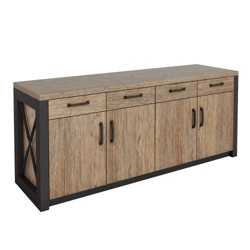 Urban Storage Credenza 72''W Weathered Walnut Laminate/Black Accents by NBF Signature Series