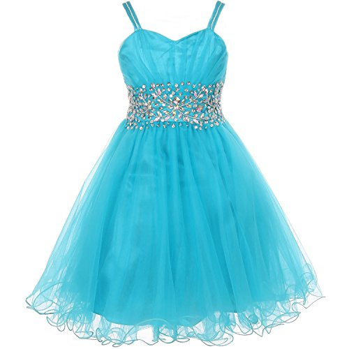 (CrunchyCucumber Little Girls Fabulous Pleated Bodice AB Stone Waistline Corset Style Wired Tulle Flower Girl Dress Jade - Size 16)