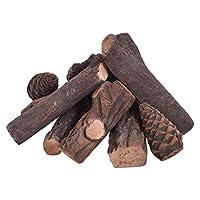 Goplus Ceramic Wood Gas Fireplace Log Se...